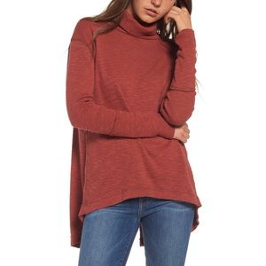 Free People Split Back Turtleneck Thermal Top